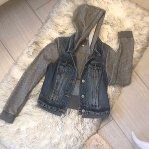 AEO Denim Jacket w/ Grey Knit Hoodie & Sleeves EUC